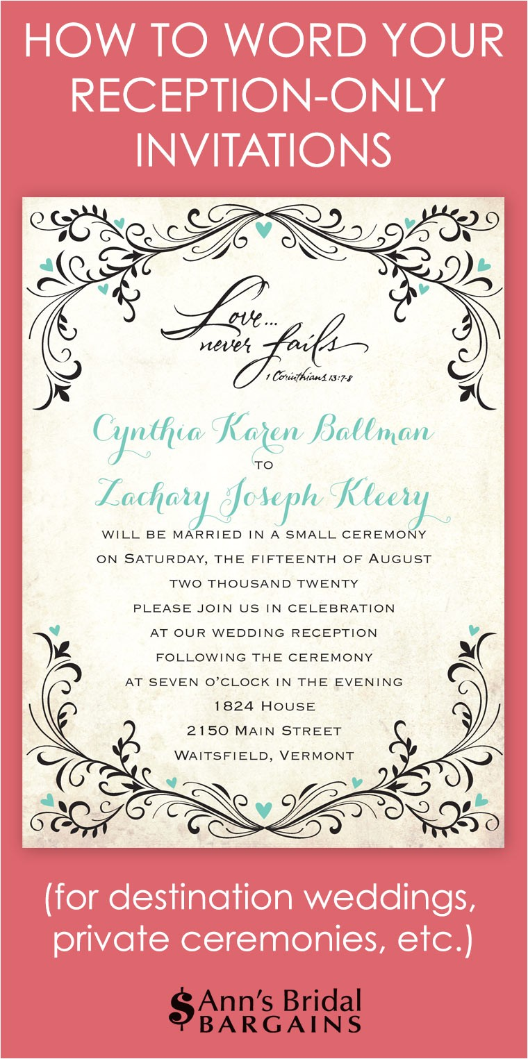 Wedding Reception Invitations Wording How to Word Your Reception Only Invitations Ann 39 S Bridal