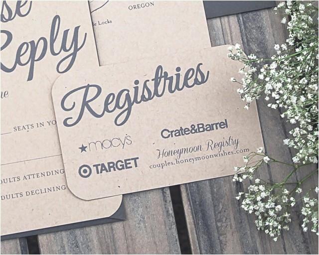 set of rustic paper bag and gray elegant modern wedding invitation registry cards printable or printed
