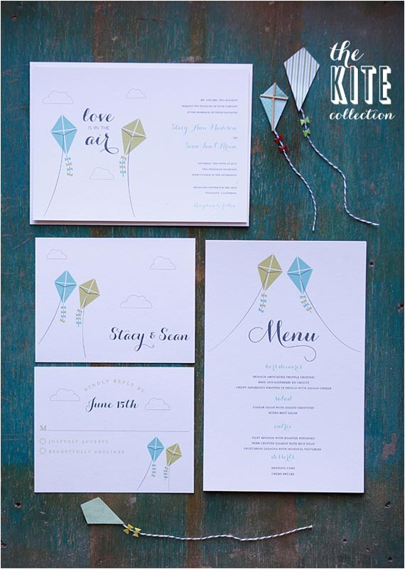 diy flying kite wedding invitation