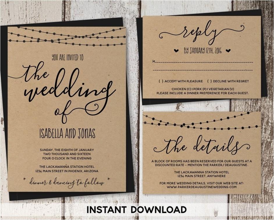 kraft paper wedding invitations template