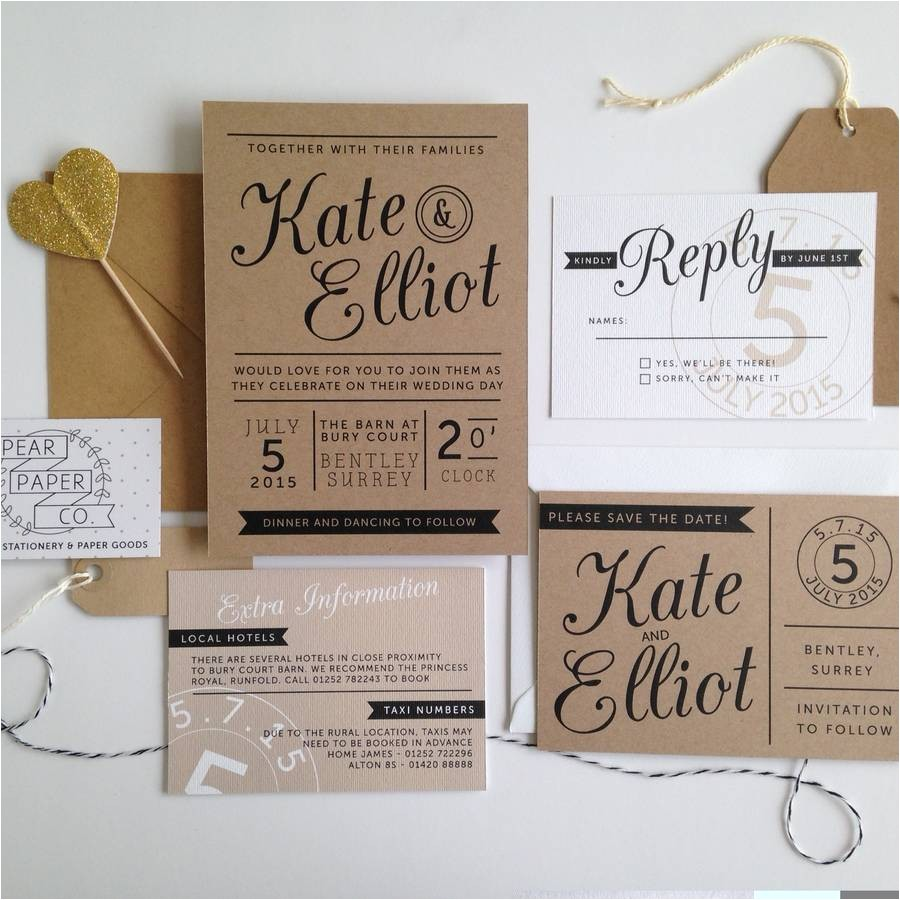 What Paper to Use for Wedding Invitations Kraft Stamp Wedding Invitation by Pear Paper Co