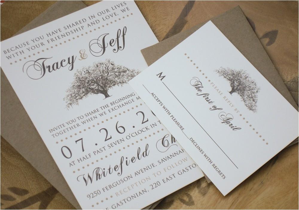 rustic magnolia tree wedding invitations with kraft paper envelopes