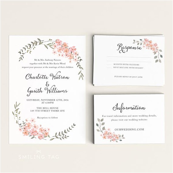 printable wedding invitation set watercolor floral garden ready to print pdf rsvp card letter or a4 size item code p668
