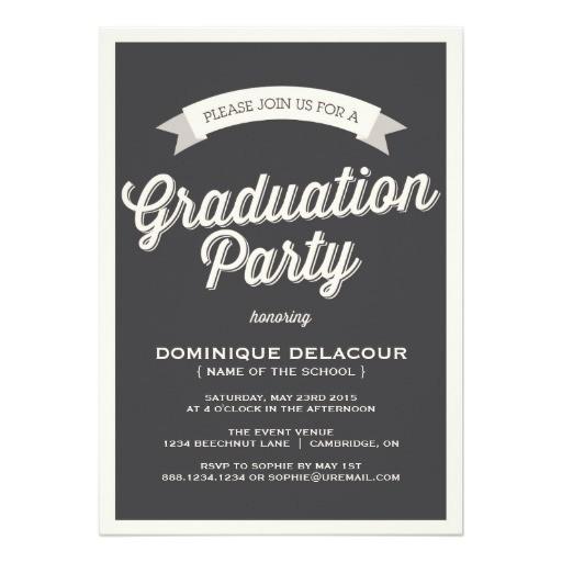 gray retro typography graduation party invitation 161244302650234646