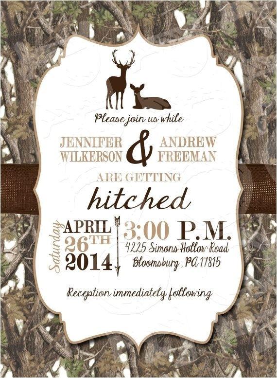 white camo deer wedding invitation and rsvp car