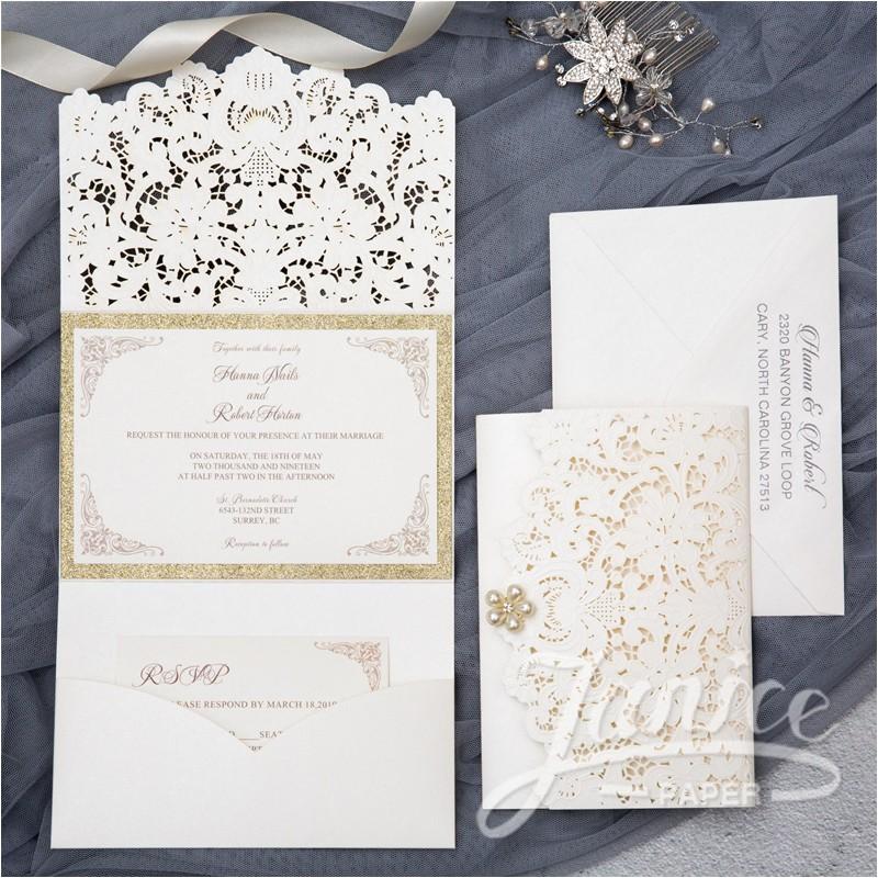 graceful trifold laser cut pocket wholesale wedding invitation wpfb2121 p 539
