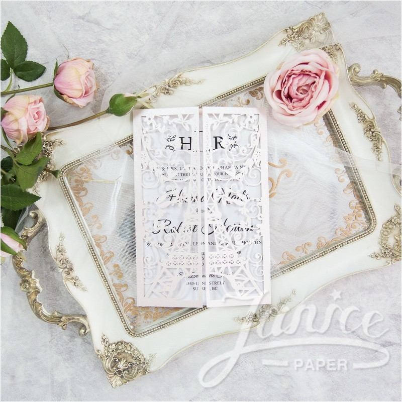 luxurious eiffel tower laser cut wholesale wedding invitation wpl0174 p 614