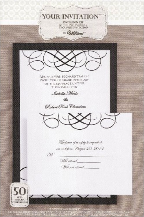 wilton black white calligraphy invitation kit 50 count