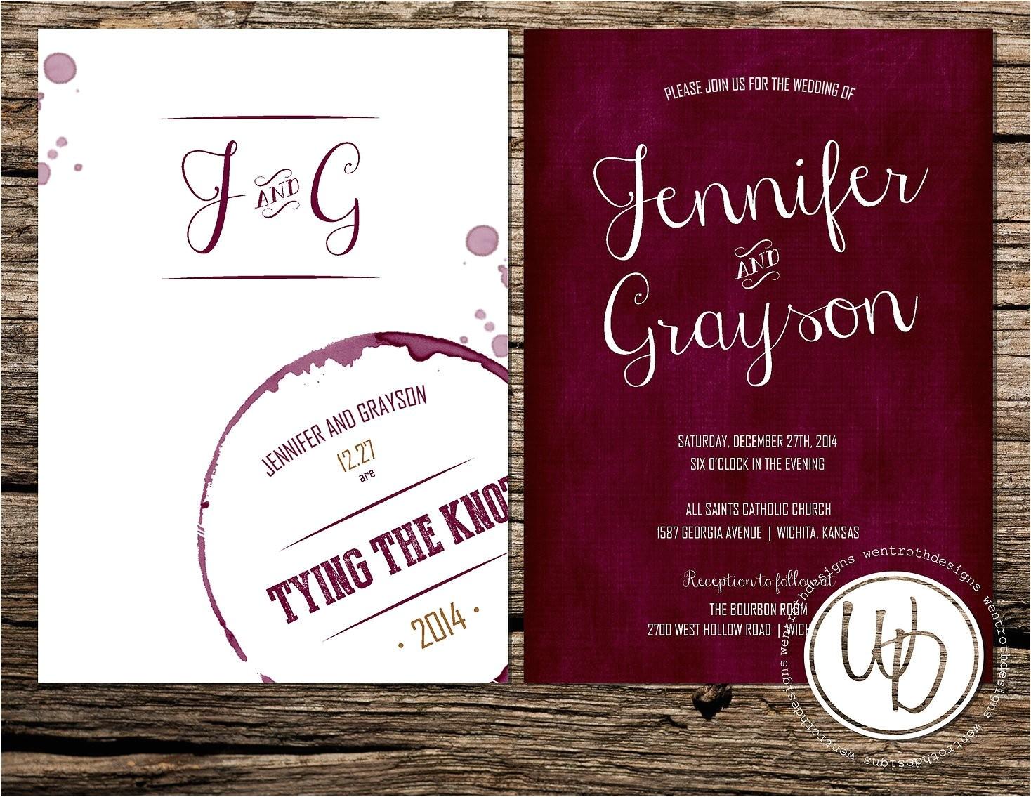 marsala wedding invitation wine wedding
