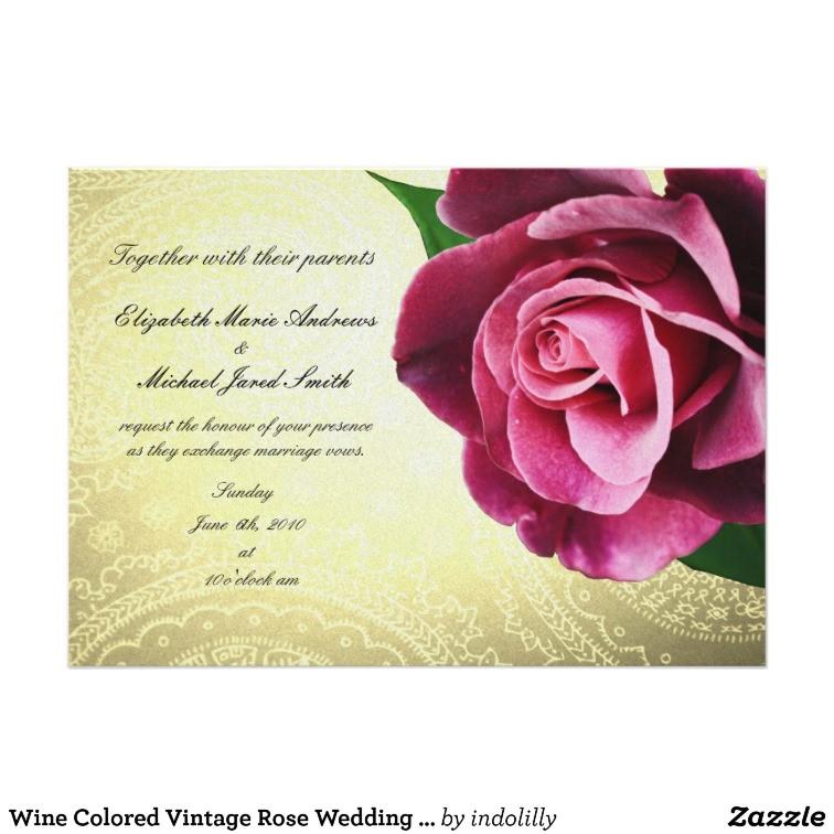 wine colored vintage rose wedding invitation 161980927447516634