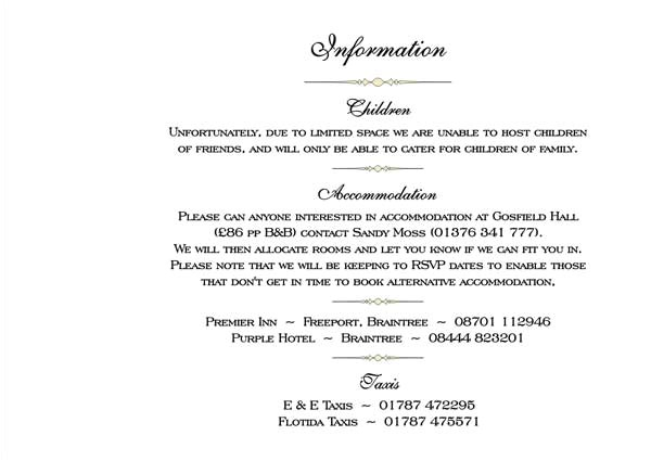 wedding invitation wording accommodation