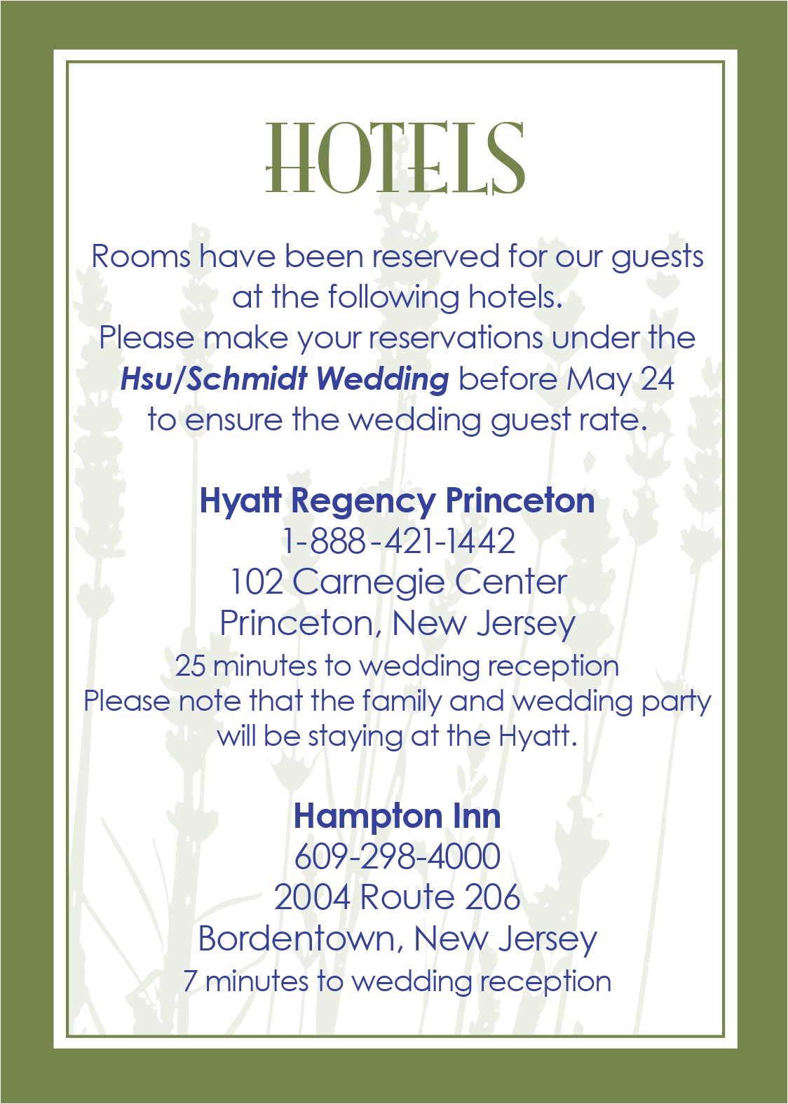 wedding invitation wording hotel accommodations