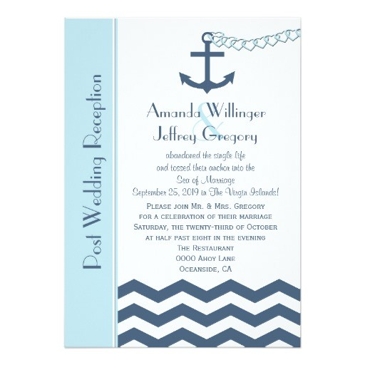 post wedding reception invitation nautical 161574641536112225