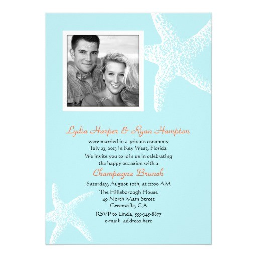 post beach wedding reception invitation