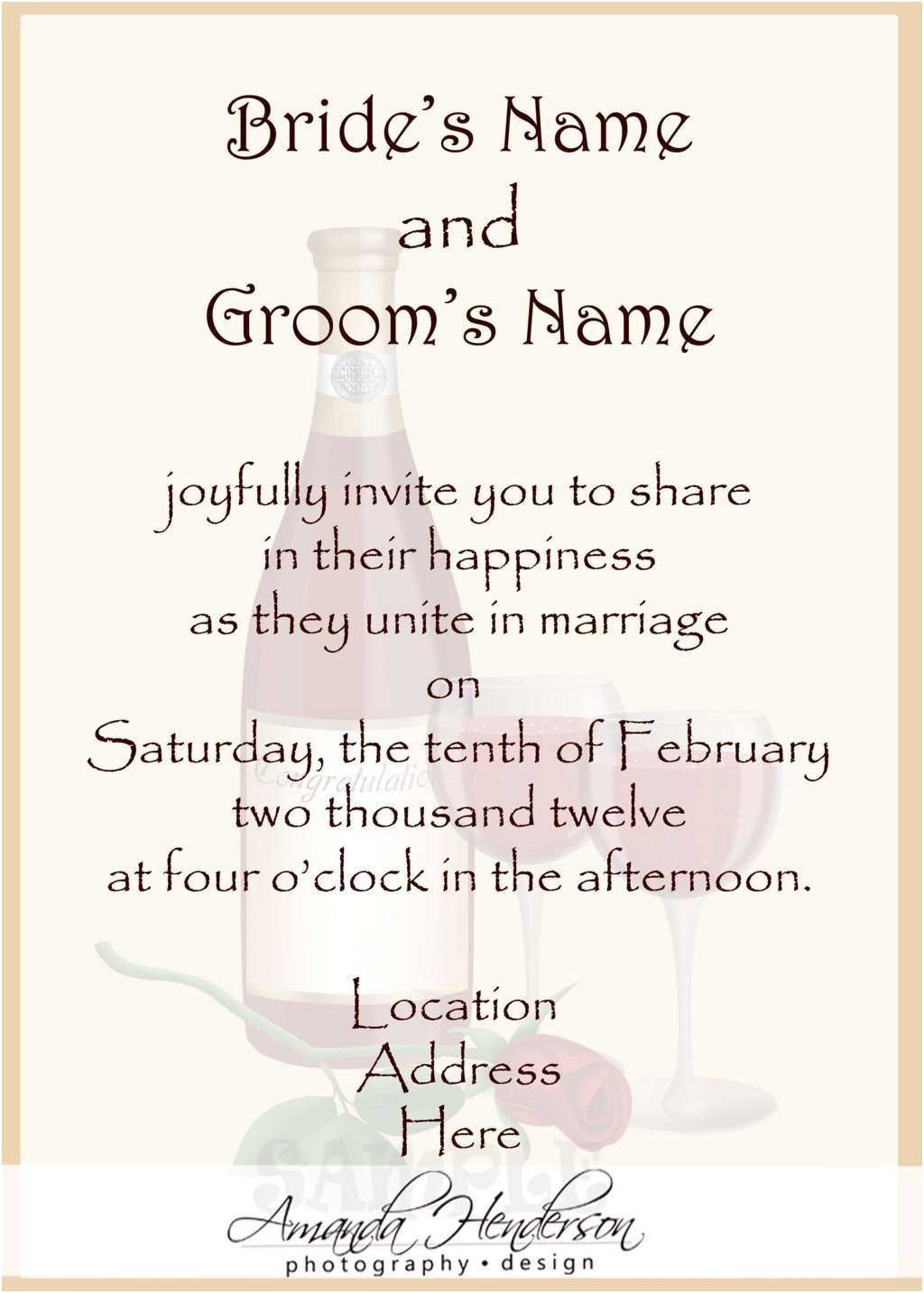 wedding invitation wording hosted bride groom