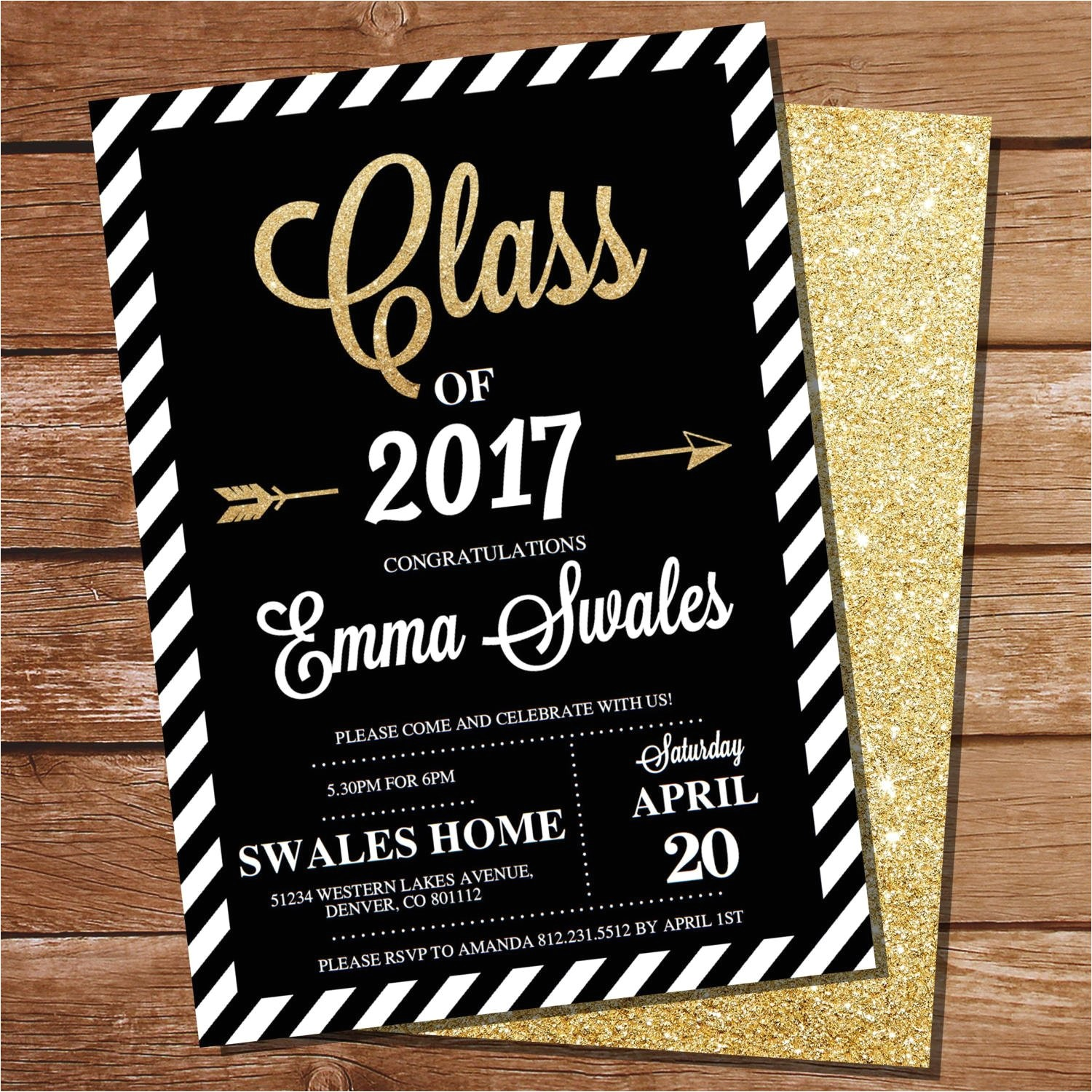 graduation invitation black and gold