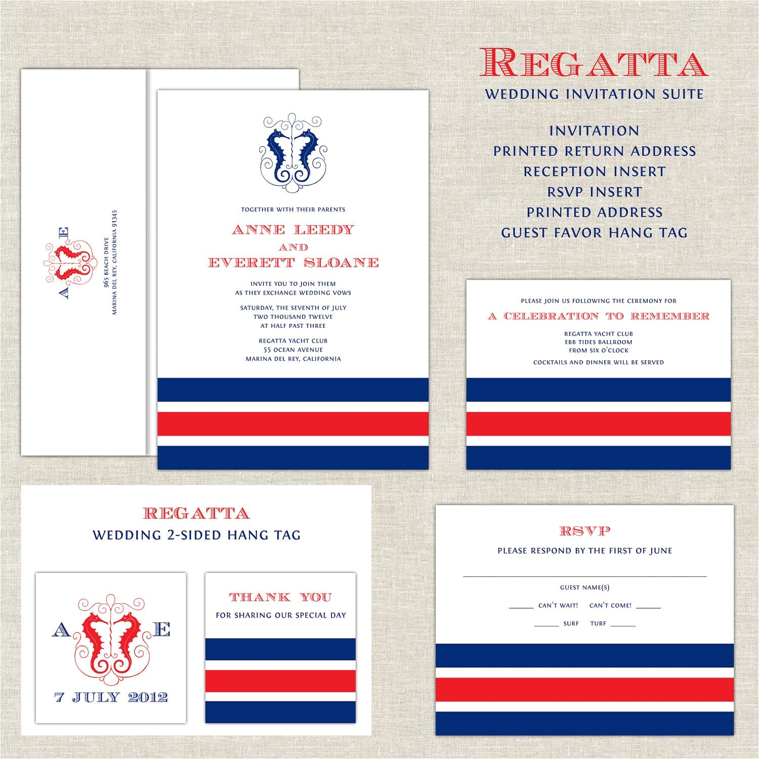 nautical wedding invitations yacht club