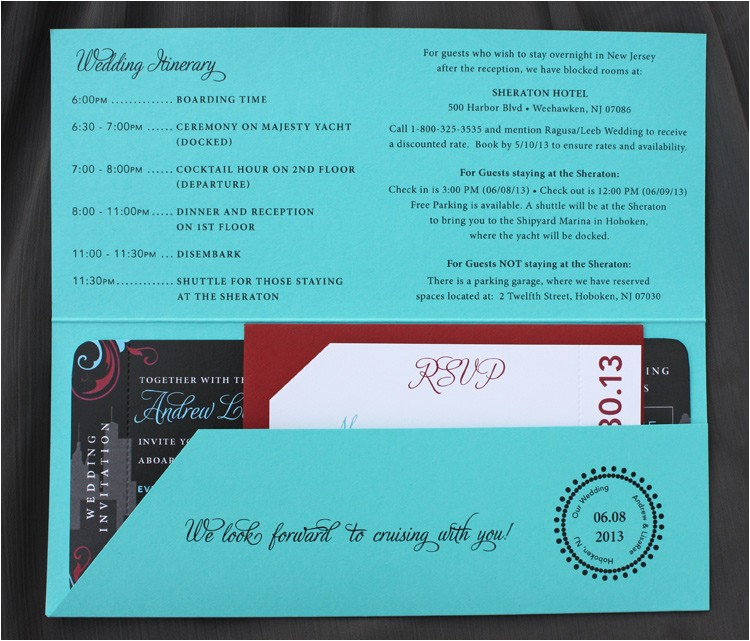 turquoise red black new york yacht cruise ticket wedding invitations