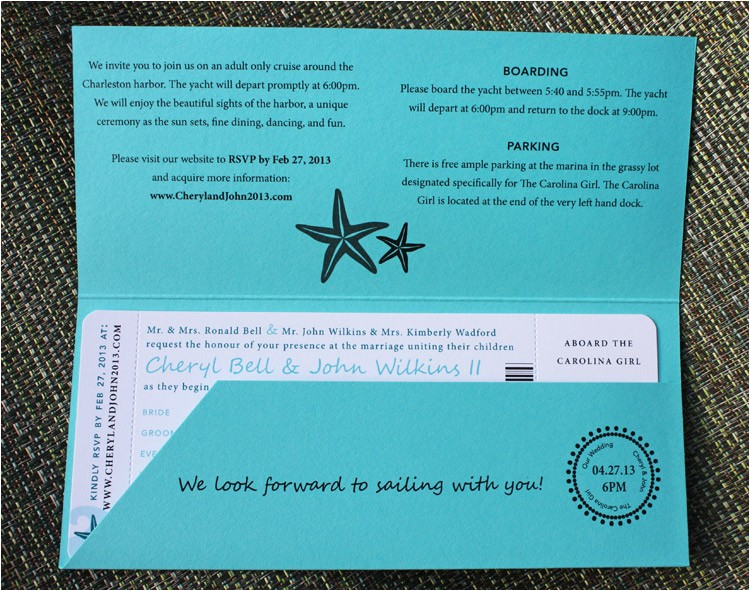 turquoise teal anchor starfish waves yacht boarding pass wedding invitations