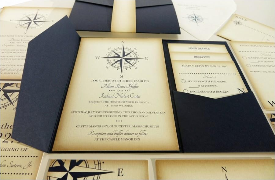 vintage compass wedding invitation navy blue nautical blue pocketfold wedding invitations beach wedding invites boat wedding yacht