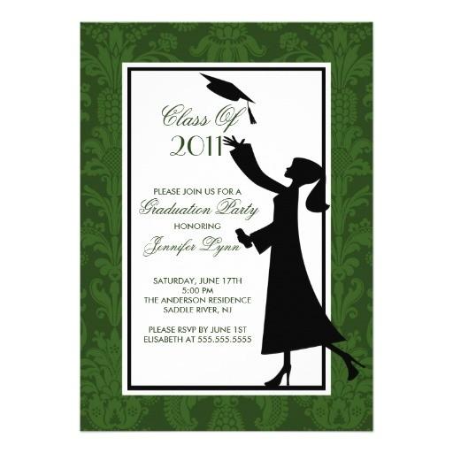 green white damask graduation invitation grad 161216903337615111
