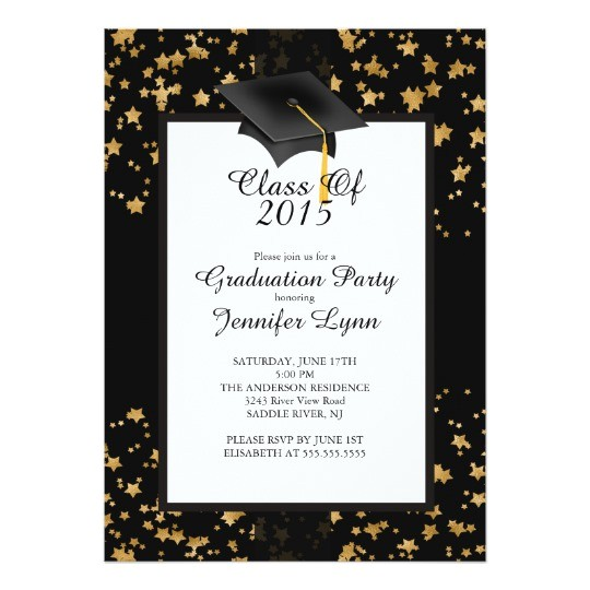 modern 2015 gold black graduation party invitation 256874892373643340