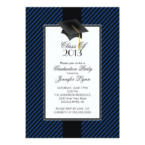 modern blue stripe graduation party invitation 161730596575950848