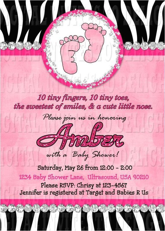 digital zebra baby shower invitation hot