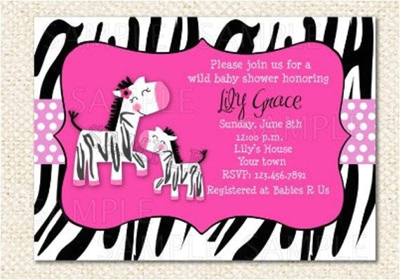 zebra baby shower invitations