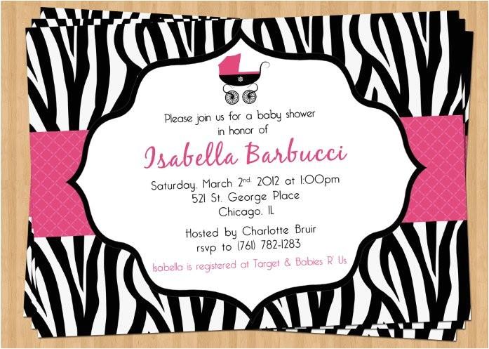 printable zebra baby shower invitation