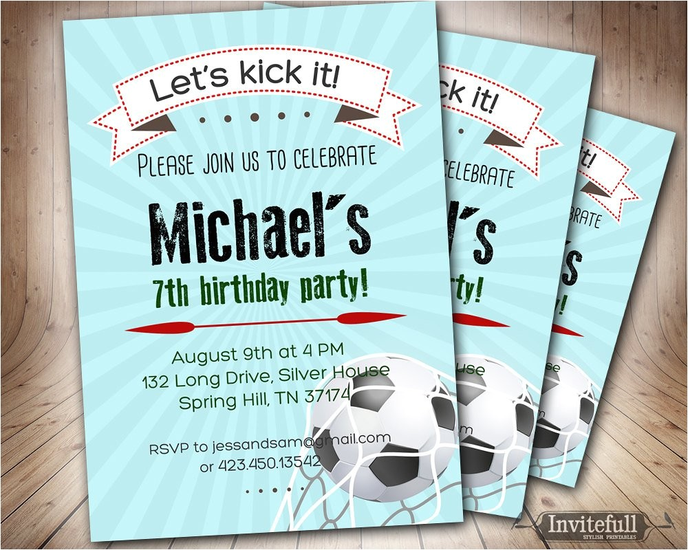 soccer birthday invitation for boys6th