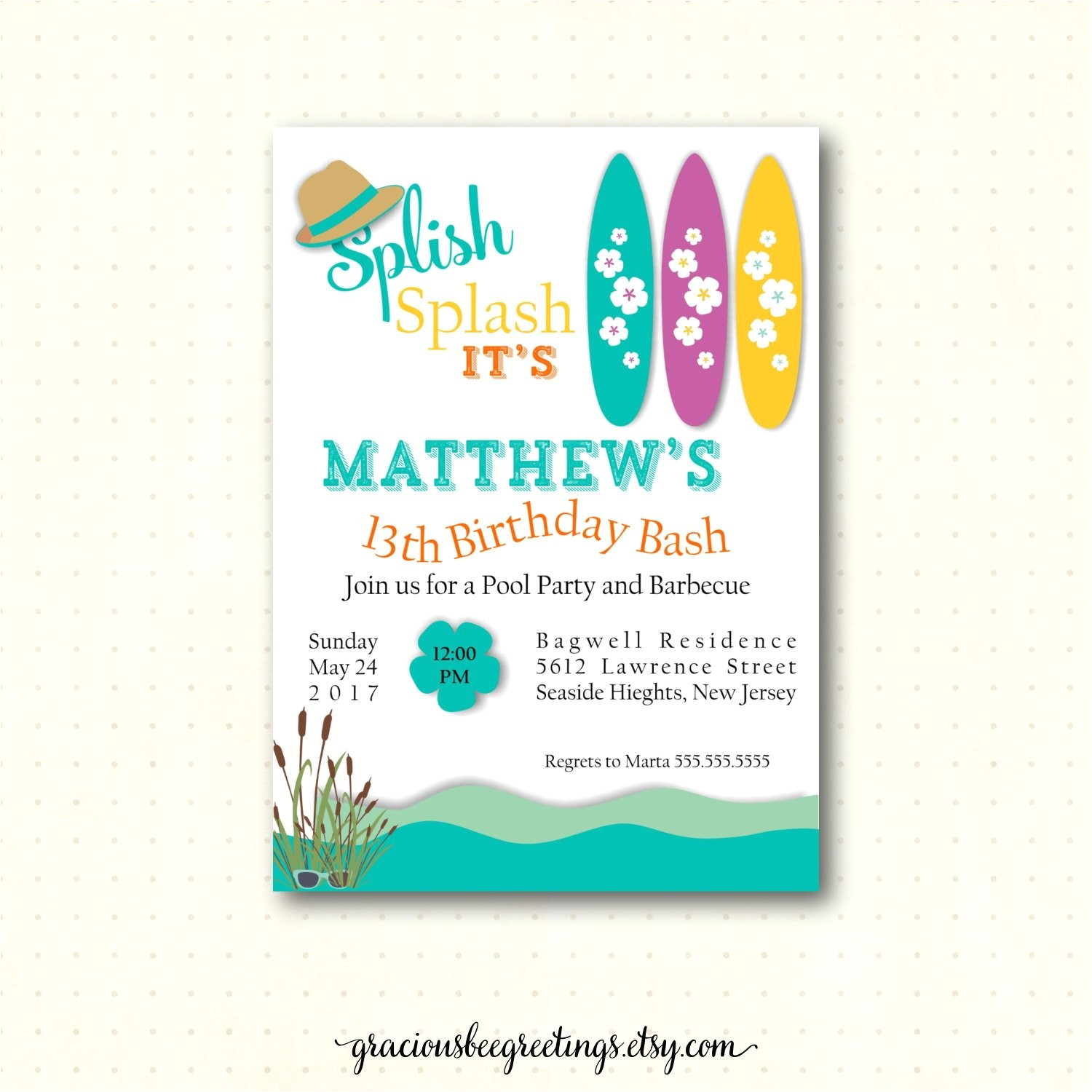 teen pool birthday party invitation 10th