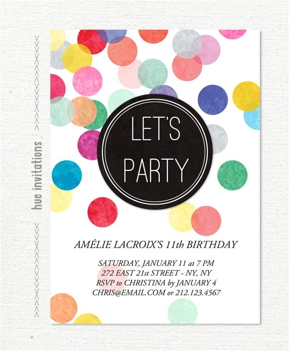 tween birthday party invitation confetti