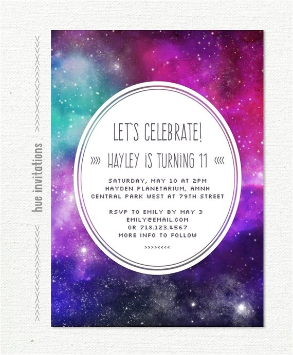 tween birthday party invitation nebula