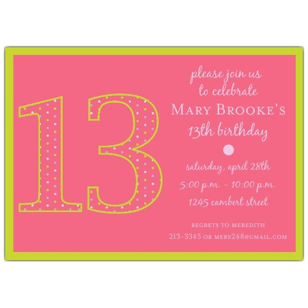 13th Girl Birthday Party Invitations 13th Birthday Girl Dots Invitations Paperstyle