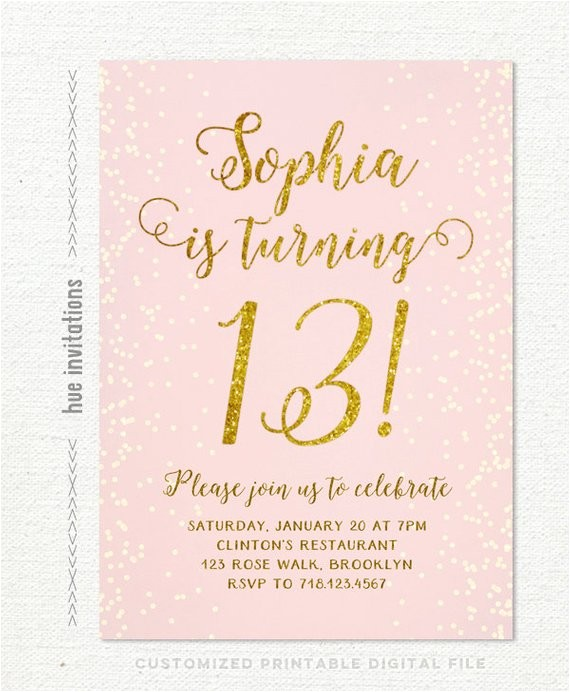 13th birthday invitation for girl pink