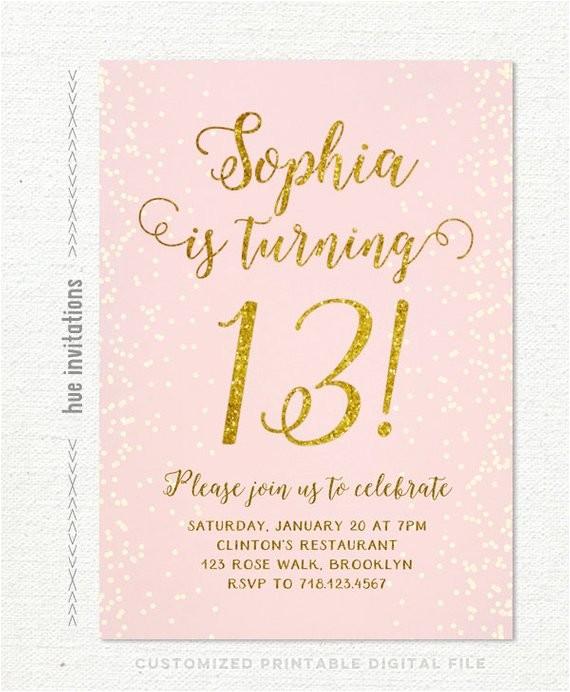 13th birthday invitation for girl pink