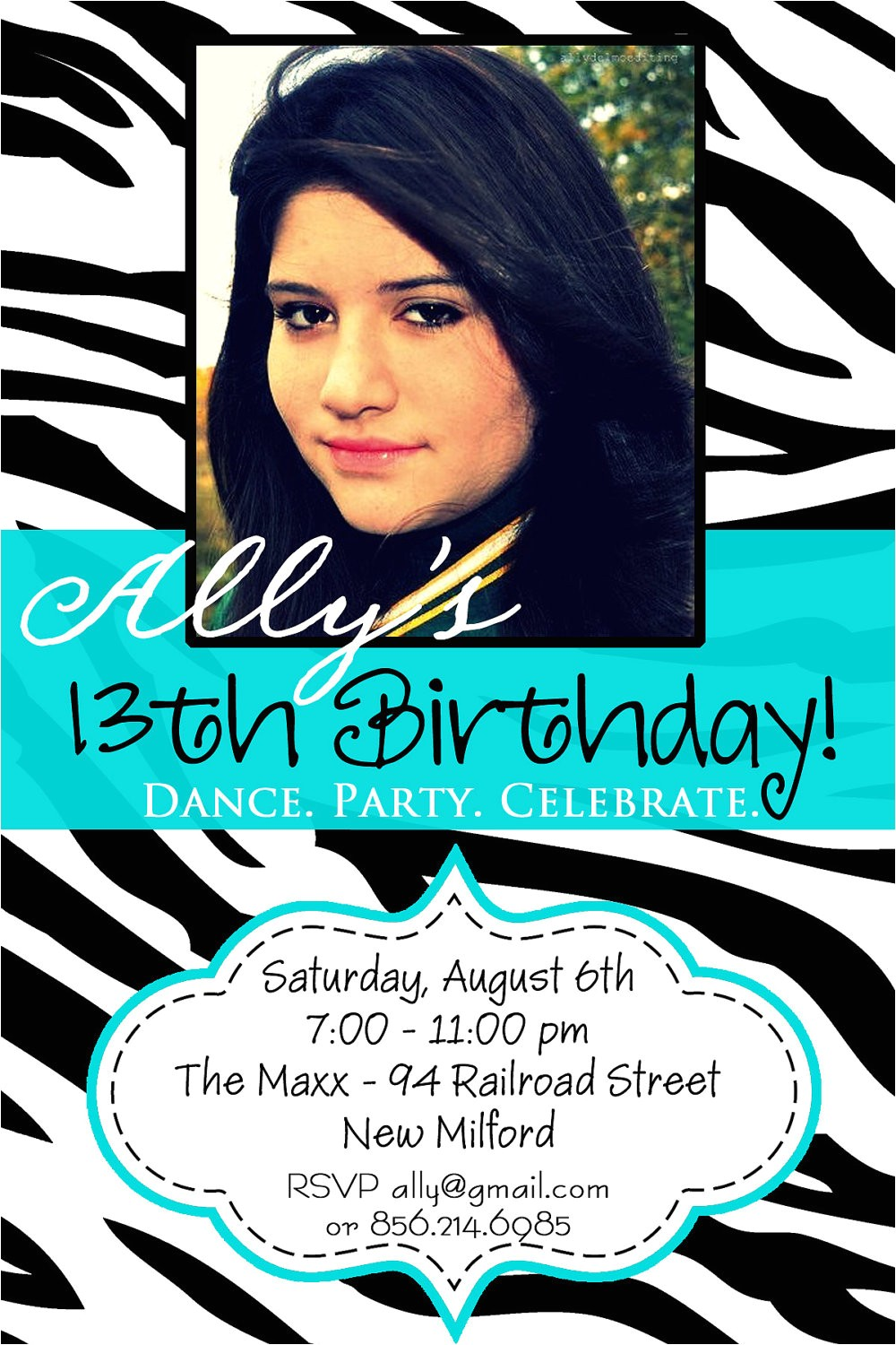 13th birthday party invitation ideas