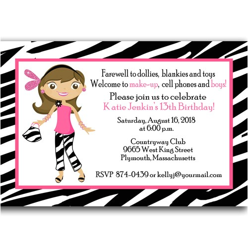 3 nice best 13th birthday party invitations cards printable