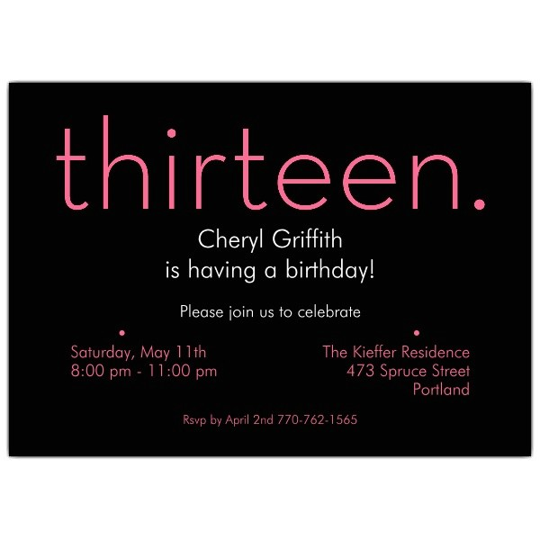 thirteen pink on black 13th birthday invitations p 610 75 285pk