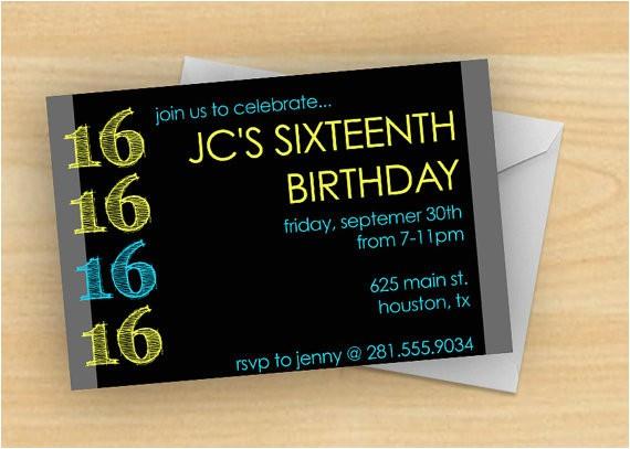 16th birthday invitations for boys