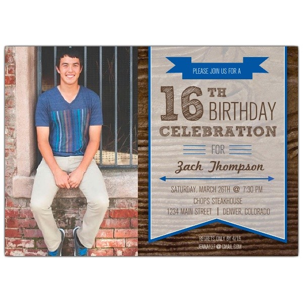 woodsy banner boys 16th birthday invitations p 615 75 675
