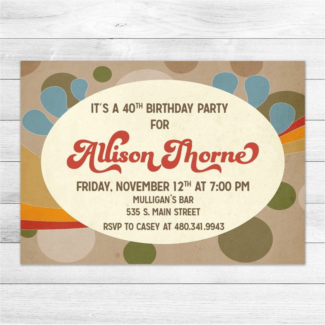 1970s birthday party invitation digital