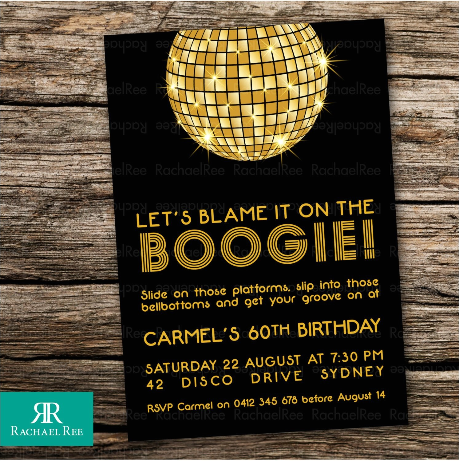 1970s disco ball invitations birthday