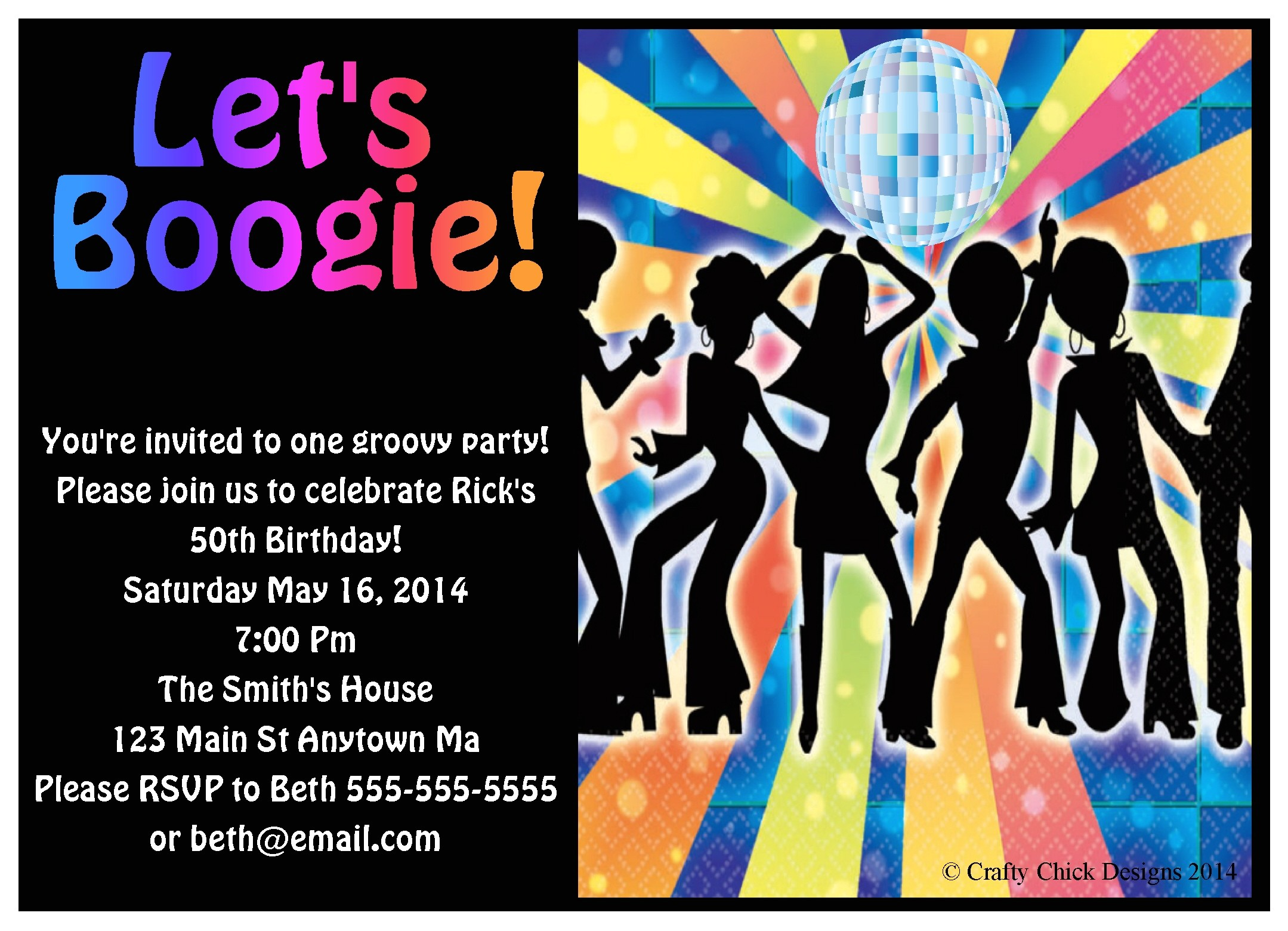 1970s disco dance digital invitations