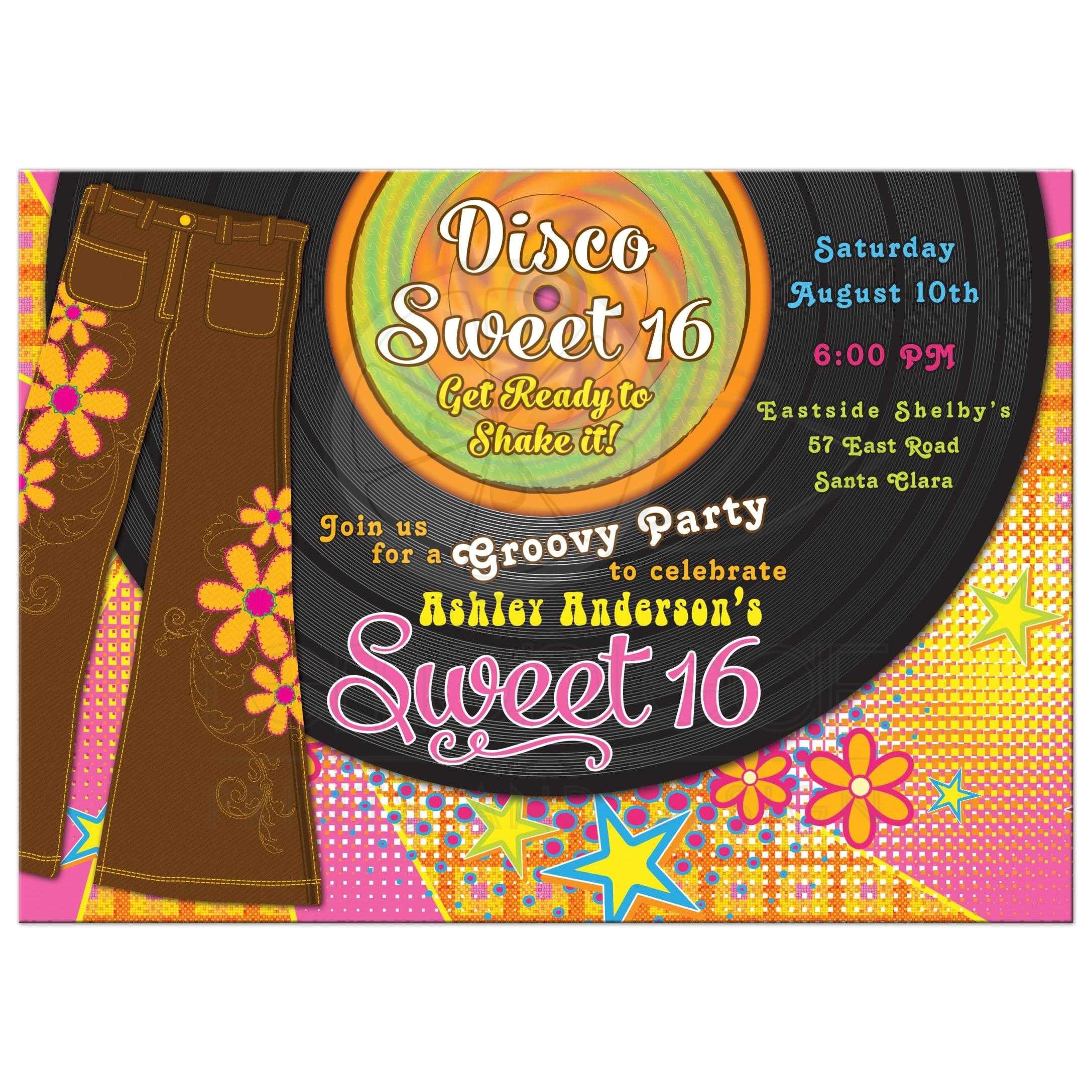 1970s disco sweet 16 invitation bellbottoms record album