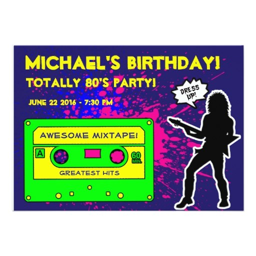 1980s birthday party invitation 256688303001734771