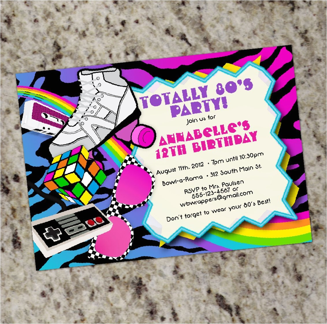 1980s Birthday Party Invitations totally 80s 1980s themed Birthday Party Invitations