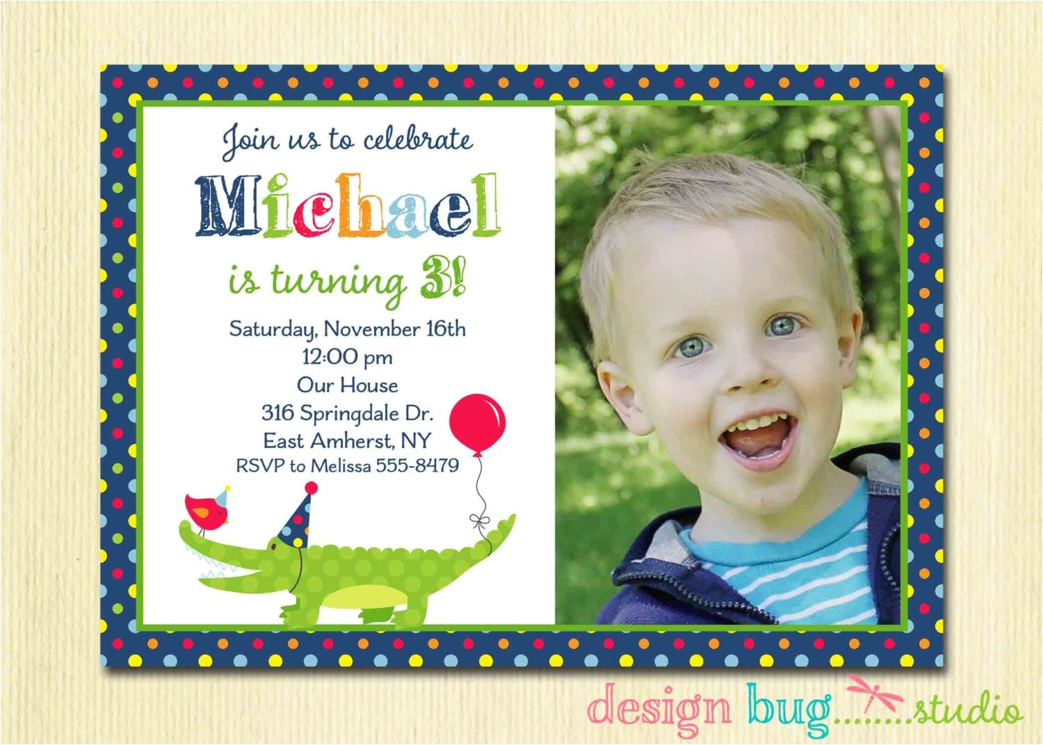 alligator birthday invitation boys polka