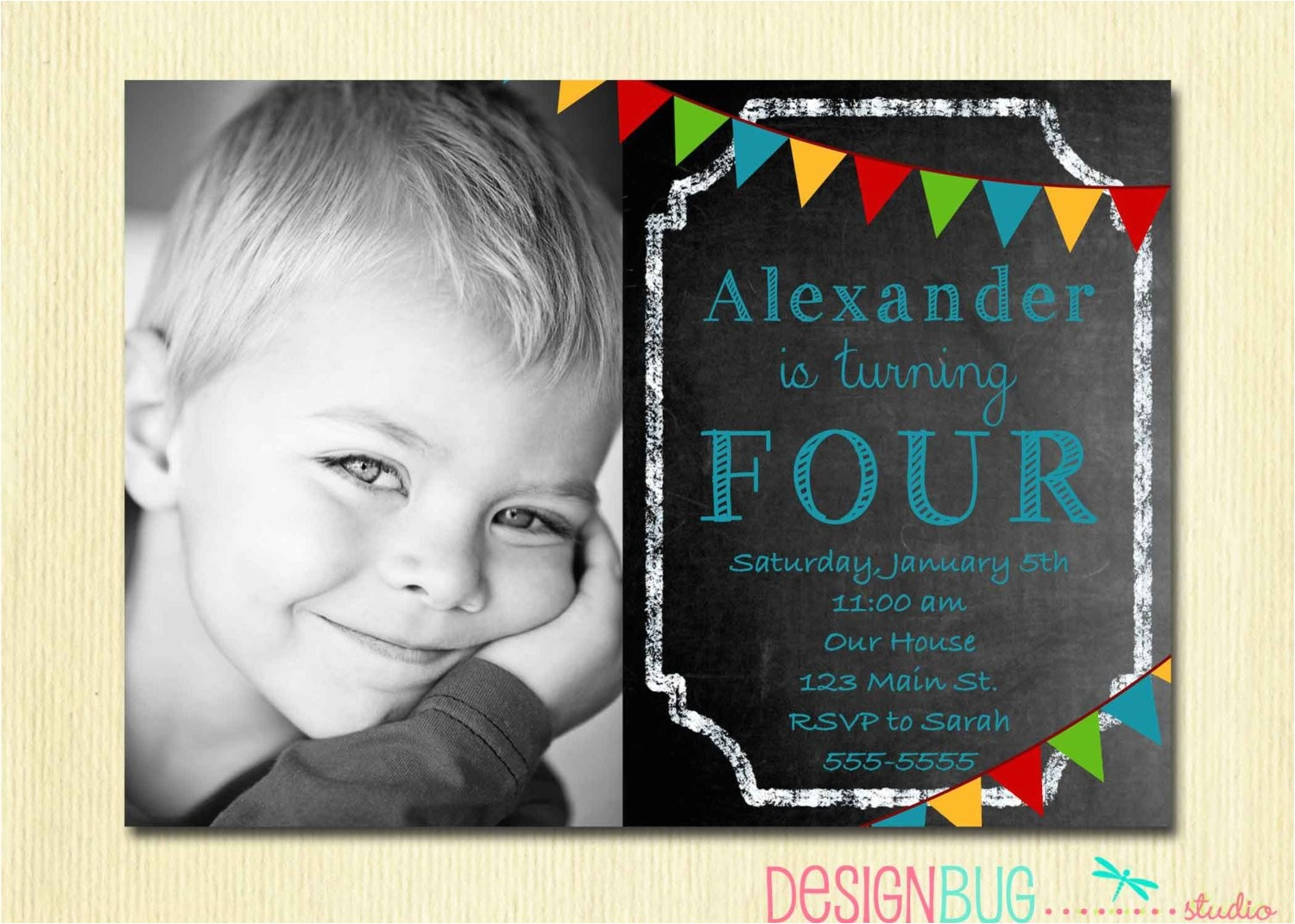boys chalkboard birthday invitation 1 2